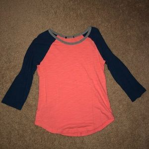 Tops - Orange and Blue Quarter Length Sleeves